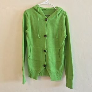 Sweaters - Lime Green Hooded Thick Knit Button Down Cardigan